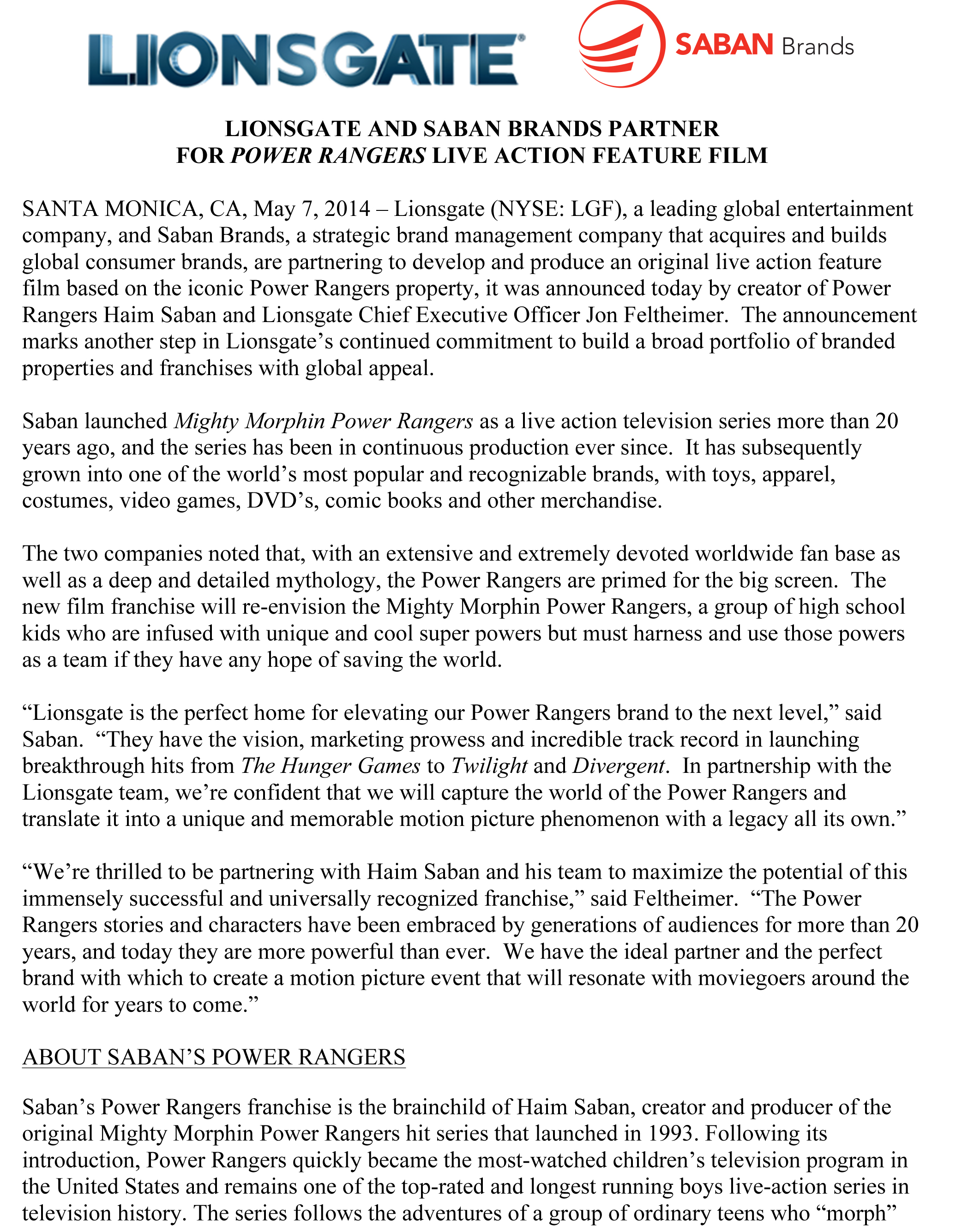 Microsoft Word - Lionsgate Saban - Press Release.docx